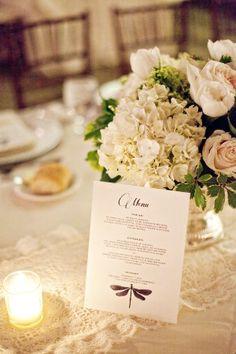 Elegant Wedding Menu Card -- love the hydrangea with roses greenery - floral arrangement Wedding Menu Cards, Wedding Pins, Chic Wedding, Elegant Wedding, Our Wedding, Wedding Flowers, Dream Wedding, Wedding Foods, Wedding Ideas