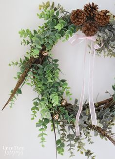 Eucalyptus and Feather Winter Wreath @OTBM - Up to Date Interiors- made with dollar store materials
