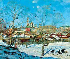 Le point de vue de Troitse-Sergiyev Monastère (2), huile sur toile de Konstantin Yuon (1875-1958, Russia)