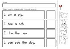 MEGA Math & Literacy Worksheets & Activities - Down on the Farm. 100 Pages in total!! A page from the unit: match the picture to the sentence reading activity.
