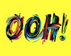 """OOH!"" Colorful Paint Streak Typography"