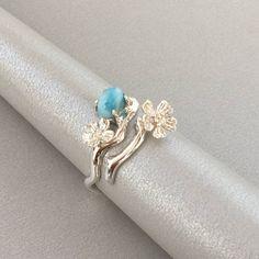 Larimar Ring / anello di Sakura / anello in argento Sterling
