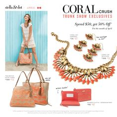 Check out Stella & Dot's April Trunk Show Exclusive Offers (Canada Pricing) Shop at a Trunk Show this month and score incredible savings on these coral beauties. Need a Trunk Show? Get in touch with a Stella & Dot Stylist by clicking through!