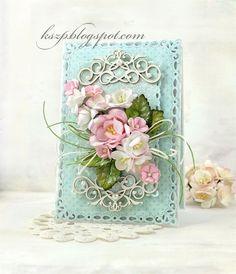 Kartka z różowym bukietem
