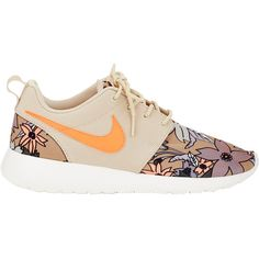 Nike Women's Roshe One Print Premium Sneakers (105 CAD) ❤ liked on Polyvore featuring shoes, sneakers, flats, nike, nude, colorful sneakers, nike sneakers, lace up flats, floral print shoes and flat shoes