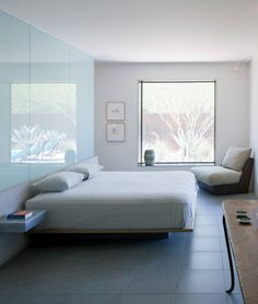 Pontatoc Residence Remodel - contemporary - bedroom - phoenix - Ibarra Rosano Design Architects | Glass with frost film on the opposite side.