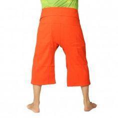 Pantalones cortos pescador tailandés de algodón grueso - naranja