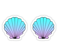 """Mermaid Shells Blue-Pink Ombre"" Stickers by amzyydoodles Mermaid Theme Birthday, Little Mermaid Birthday, Ariel The Little Mermaid, Tumblr Stickers, Cool Stickers, Printable Stickers, Mermaid Wallpapers, Cardboard Box Crafts, Mermaid Shell"
