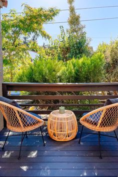 Woven from matte resin wicker, set on a metal frame, and topped with the cushiest of cushions, the Aeri is the kind of dining chair that encourages long evenings of indulgent meals and thoughtful conversations. Photo by @dazey_la. #PatioDecor #ModernPatio #PatioDesign #DeckInspiration
