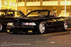 BMW E36 3 series black cabrio deep dish slammed