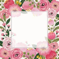Pink Wallpaper Iphone, Flower Wallpaper, Wallpaper Backgrounds, Wallpapers, Imagenes Free, Printable Frames, Cute Frames, Borders And Frames, Floral Border
