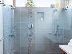 Double shower design ideas bathroom contemporary with white countertop shower niche sloped ceiling Bathroom Windows In Shower, Window In Shower, Shower Floor, Small Bathroom, Shower Base, Bathroom Layout, Bathroom Ideas, Shower Niche, Bathroom Modern