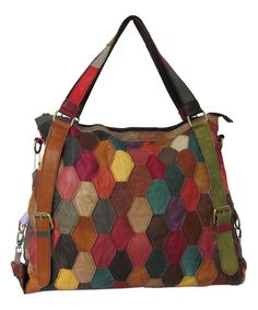 Take a look at this Pink Rainbow Miya Leather Tote today!