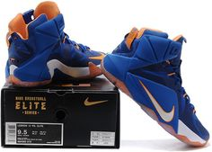 promo code c493c 1eb9d Lebron 12 Women Royal Blue White Orange1