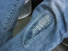Cute ways to fix jeans with holes in the knees.