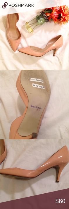 J. Crew Valentina Patent Leather d'Orsay Pumps Nude color. Left and right shoe has very minor marks (pictured). Other than that, in great condition! Price is negotiable! J. Crew Shoes Heels