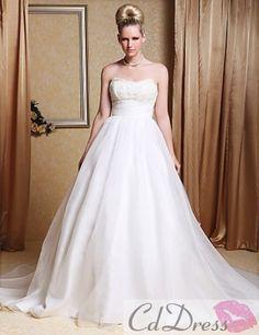Elegant  A-line Strapless Chapel Train Organza Wedding Gown