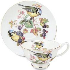 Tea Cup and Saucer Bird Design Tea Cup Set, My Cup Of Tea, Cup And Saucer Set, Tea Cup Saucer, Tea Sets, Teapots And Cups, Teacups, Keramik Vase, Cuppa Tea
