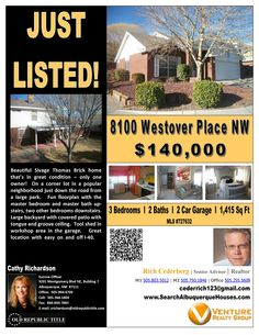 8001 Westover Pl NW has 1415 Square feet, 3 Beds, 2 Baths, a 2 car garage and is on the market for $140,000.