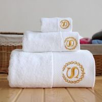 Free shipping white cotton bath towels Hotel SPA club sauna beauty salon free custom LOGO its name