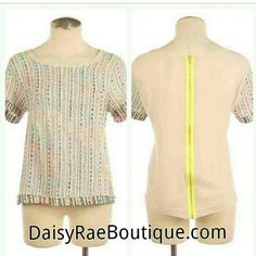 Embroidered top with neon zipper back detail