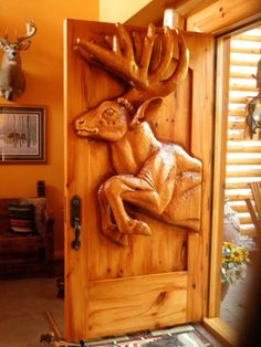 Entry Door Front door American Bison woodenwhite by GlenMcCune
