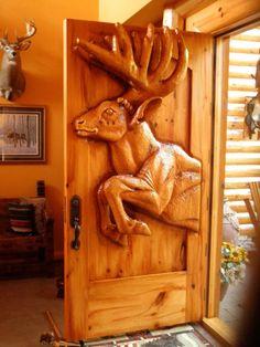 Entry Door Front door American Bison woodenwhite by GlenMcCune