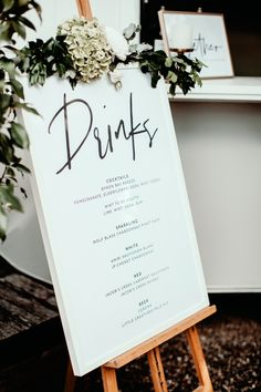 Calligraphy Drinks Menu Sign | Wedding Signage | Bar Sign | Greenery | Easel | Paper Minx Designs