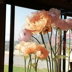 Giant organza flowers for wedding decoration, handmade. Giant Paper Flowers, Fake Flowers, Diy Flowers, Flower Decorations, Wedding Flowers, Wedding Decorations, Organza Flowers, Tissue Paper Flowers, Fabric Flowers