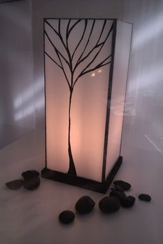 Stained Glass Lamp in white opal glass with by AlphaCraftsDerry