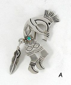 Authentic Native American kokopelli pin of sterling silver and turquoise by Lambert Perry Navajo
