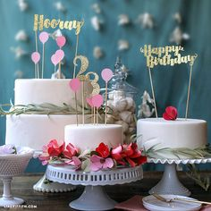 Download our festive birthday cake toppers to add a touch of flair to your ordinary birthday cake, designed by handcrafted lifestyle expert Lia Griffith