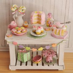 Miniature Valentine Farmhouse Baking Table by LittleThingsByAnna, $115.00
