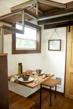 Tiny Homes For Sale • Tiny Heirloom Luxury Custom Built Tiny Homes Adorable kitchen dinette collapsible