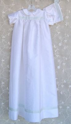 Silk christening gown & cap for baby boy. Beautiful!