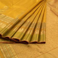 Golden Grass Yellow Handwoven Kanjivaram Silk Saree with Paisley Motifs 10006831 - AVISHYA.COM