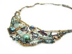 Freeform beaded necklace with pearls by Aimee Re