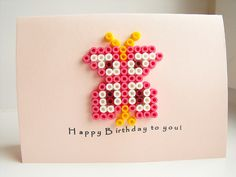Perler butterfly - birthday card (square board)