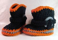 Motorcycle Booties for Baby, Black, Orange and Gray