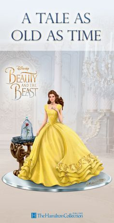 """A classic never goes out of style! This Disney Belle Figurine captures the timeless tale told in Disney's live-action """"Beauty and the Beast."""" Marvel at all the enchanting details including Belle's sparkling golden dress, the antique-looking table that holds the enchanted rose and more!"""