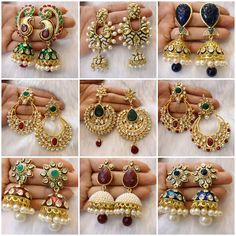 Trendy yet traditional earrings India Jewelry, Temple Jewellery, Ethnic Jewelry, Gold Jewellery, Oxidised Jewellery, Trendy Jewelry, Simple Jewelry, Jewelry Trends, Silver Jewelry