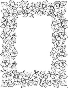 Find This Pin And More On Pyrography Flower Frame Colouring Page
