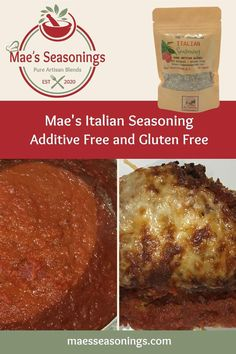 Mae's Italian Seasoning is a great all–purpose seasoning. It is great in Homemade Marinara Sauce. This Italian Seasoning blend of spices includes basil, oregano and garlic to name a few. Also has a hint of red peppers and salt. Mae's Seasonings Italian Seasoning explodes with robust flavours. Eliminate the guesswork and choose Mae's Seasonings spice combinations that are made with no artificial preservatives. Seasoning Mixes, Italian Seasoning, Gluten Free Diet, Gluten Free Recipes, Spice Combinations, All Purpose Seasoning, Natural Spice, Italian Appetizers, Homemade Marinara
