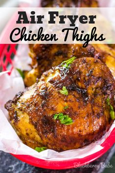 Air Fryer Chicken Thighs are seasoned to perfection with beautiful crispy skin and ready in less than 30 minutes! Keto and Paleo friendly. Air Fryer Chicken Thighs, Bbq Chicken Thighs, Chicken Thigh Recipes Oven, Barbecue Chicken, Recipe Chicken, Air Fryer Chicken Thigh Recipe, Recipes With Chicken Thighs, Turkey Thigh Recipes, Teriyaki Chicken