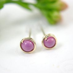 Tiny rose pink post earrings gold filled chalk by SueRunyonDesigns, $14.50