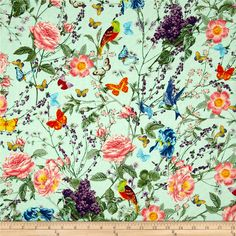 Michael Miller Spring Fling At The Conservatory Aqua from @fabricdotcom From Micheal Miller, this cotton print is perfect for quilting, apparel and home decor accents. Colors include blue, green, pink, purple, yellow, orange, red and aqua.