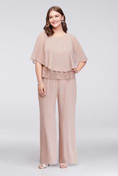 This three-piece plus-size ensemble creates a luxe look by layering a flowing chiffon capelet over a sequined lace shell and wide-leg chiffon pants. By Ignite Three-piece ensemble Nylon, rayon Ba