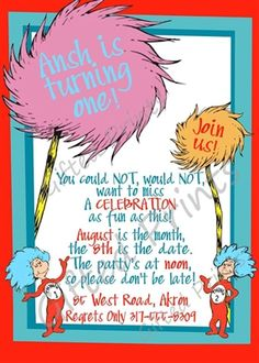 Birthday Invitation • Dr. Seuss Theme • Free economy shipping • Fast turnaround time • Great customer service • These birthday invitations are custom, high resolution digital files that are personalized for each customer upon order