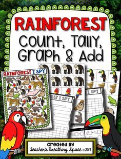 Rainforest Count, Tally, Graph and Add --- Features 2 different graphing activities, along with 2 recording pages! Rainforest Preschool, Rainforest Theme, Rainforest Habitat, Rainforest Animals, Second Grade Science, First Grade Lessons, Graphing Activities, Learning Activities, Kindergarten Lessons