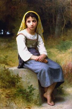 Meditation by William-Adolphe Bouguereau of France. (painting)